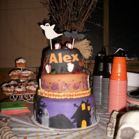 Halloween Birthday Cake 3 layer fondant cake with fondant decorations. Red gel icing used for the blood, cookie cutters to make the ghost and bat. Free handed the...