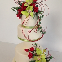 Juliet   Handmade Gumpaste Green Orchids, and Red Roses