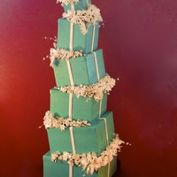 Tiffany Inspired Cake 6 Tier Teal Cake w/ White Gumpaste Flowers
