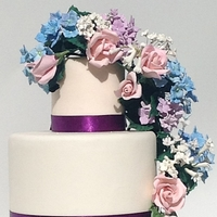 Timeless Gumpaste Blue and Lavender Hydrangeas and Pink Roses.