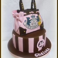 "Juicy Couture Bag Cake This is an 8"" chocolate cake with the bag made from rice crispy treats."