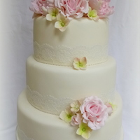 Peony And Rose Wedding Cake This is another version of a similar cake I've made previously but with additional peonies this time. The topper comprised of 3...