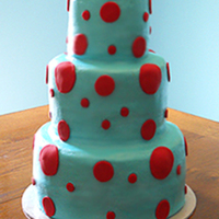 Aqua & Red Polka Dot Cake