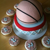 Basketball Cake Basketball cake, with little cupcakes. she how it was made here:http://jaclyndesigns.blogspot.com/2011/08/basketball-cake-tutorial.html