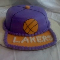 Lakers Hat white cake with fondant and butter cream