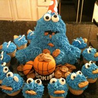 Basketball Cookie Monster Cake   Two good things came together, a love for basketball and cookie monster.