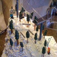 Ski Cake For the ski cake snowdrift affect, I used my small bent spatula. I would put a dollop of frosting down and used my spatula to push it...