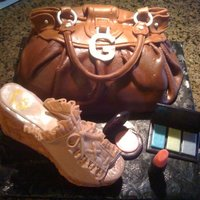Guess Purse And Shoe   This cake was inspired by a real Guess Purse and Shoe.