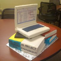 Project Management Laptop Cake My project management class was over and deserved a celebration cake!! The image on the laptop is a screen shot of a project in MS Project...