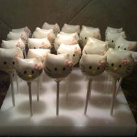 Hello Kitty   My version of Hello Kitty and my very first try at cake pops. I underestimated the difficulty.