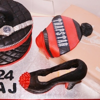 Jan/feb 2013 louboutin shoe cake with Chanel vanity case Rolex watch and trapstar hat cake