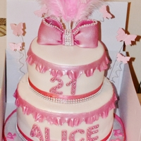 Pink 2 Tier Feathers, Frills, Bows And Butterflys