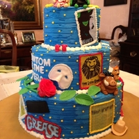 Broadway Musicals   Birthday Cake for my dad's 60th Birthday! Each musical is a favorite of his!