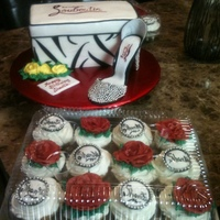 Desiger Specials Shoe box with high heel and designer cupcakes