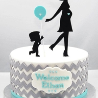 Chevron And Balloon Baby Shower Cake  A shower cake inspired by an invite that had chevrons and a single blue balloon to welcome the newest addition to a friend's family,...