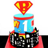 Super Hero Themed Birthday Cake   *