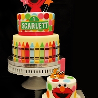 Elmo First Birthday Cake  Here is a collaboration of 2 minds. Kristin and I work together and during our breaks, we would talk about the perfect cake for Scarlett!...