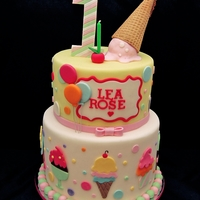 Ice Cream And Balloon Cake  Lea Rose is celebrated her 1st birthday bash with an icecream and balloon themed party. Her mom had a couple of cakes in mind so combining...