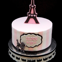 Pink And Black Paris Themed Cake  I have never been to Paris and this is probably the closest i will get to being there. When Cathy (jenn's mom) approached me with her...