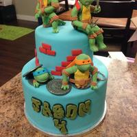 Tmnt Cake Fully copied every inspiration for ninja turtle cakes I could find! This was a vanilla cake with watermelon/peach/white chocolate swiss...