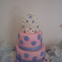 First Cake Ever This is the first cake i ever made. Made the crown out of fondant. Did it for my daughters 3rd bday.