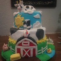 Daughters B Day Cake Daughters 4th bday cake ... barnyard theme