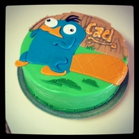 Perry The Platypus So if you've never heard of Phineus and Ferb, you won't know who this is :) Perry the Platypus cake for a 6th bday. Love the way...