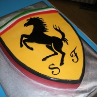 "Ferrari Cake A Sacher Torte covered in fondant with the Ferrari logo replicated for my Italian co-worker. The horse, ""S"", and ""F'..."