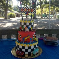 Racing Cars Cake My friends 2-year old is a huge fan of Cars2, so I was tasked in creating a racing cake for his birthday. 3-tiers of chocolate, vanilla and...