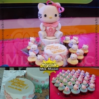 Miss Kitty   chocolate three dimensional cake with 60 pieces cupcakes topped with cakepops. total servings 25 plus 60.