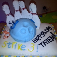 Bowling Cake   Bowling cake for 4 years old kid who loves bowling alot, the idea and design made by my friend Aki lana and I helped in decoration