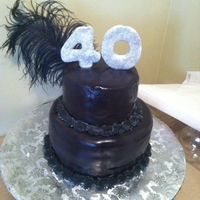 Over The Hill 40Th Birthday Cake made out of fondant and edible glitter
