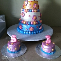 Helo Kitty Cake three tier made with fondant decor and touched with a pearl spray with the airbrush