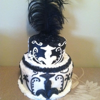 Elegant Wedding Cake All buttercream with feather