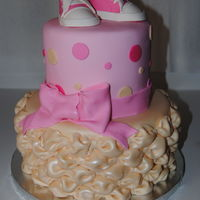 2 Tier Stacked Baby Shower Cake Billowing Technique For The Bottom Tier First Time W This Technique Gumpaste Baby Sneakers 2 tier stacked baby shower cake. Billowing technique for the bottom tier (first time w/ this technique). Gumpaste baby sneakers.