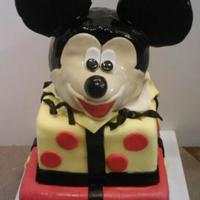 Mickey First Birthday Chocolate cake covered in mmf