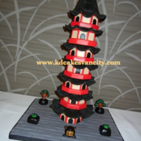 "Chinese Pagoda I made this cake for a cake show in Vancouver. The little pot in front says ""CAKE"" in Chinese! This cake is all covered in..."