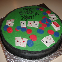 Poker Birthday This was the 1st fun cake I tried. Cake is Chocolate & buttercream. Cards and tokens are made from fondant.