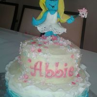 Smurfette   Smurfette is made of fondant, based on the party invite.