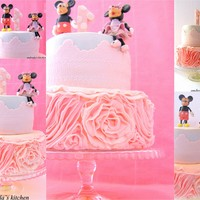 Pink Birthday Cake With Fondant Mickey & Minnie Mouse. Ruffles Learned From Sharon Wee`s Tutorial. Tfl !! ♥♥&...