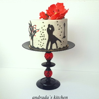 Romantic Silhouette With Red Poppy Flower Made this cake for my cousin and his fiance for their 1 year engagement celebration . TFL!!!