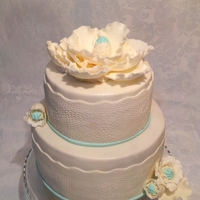 Wedding Cake With Lace And Fantasy Flowers