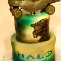 Halo Cake *Halo cake. With rice krispee warthog. Mostly all airbrushed