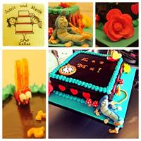Alice In Wonderland *Alice in Wonderland cake. Chocolate/nutella Ganache and Cream Cheese frosting. With fondant accents