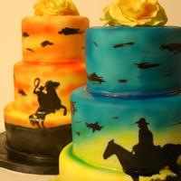 Western Themed Cakes *Western themed cakes for a rodeo club fundraiser. vanilla w/white chocolate ganache and chocolate w/chocolate ganache