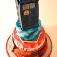 Zelda, Doctor Who,minecraft Cake My husband is a big nerd! Chocolate cake with ganache. Fondant accents. Tardis is a rice krispee treat