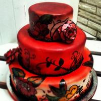 Red/tattoo Cake *This was based off a cake that the groom showed us. Not sure who did the original but if anyone knows let me know! Red velvet, vanilla and...
