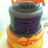 Lorax Cake chocolate and vanilla cake. Fondant and gumpaste accents