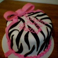 Pink And Black Zebra Striped Cake
