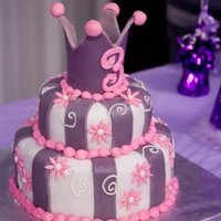 Princess Birthday Cake   Pink and purple princess cake with gumpaste crown topper